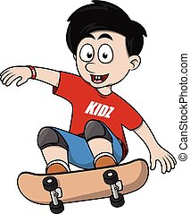 Boy jumping with skate board