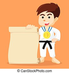boy karate champ holding paper
