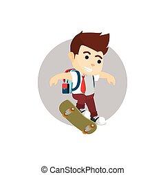 Boy kickflip with skate board