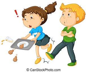 Boy kicking girl's leg  illustration