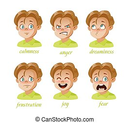 Boy Kid avatar Character expressions set. Boy, surprise, frustration, anger, sadness, calmness, joy, fear