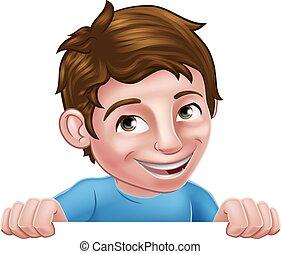 Boy Kid Cartoon Child Character Peeking Over Sign