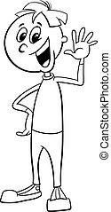 boy kid character cartoon coloring page