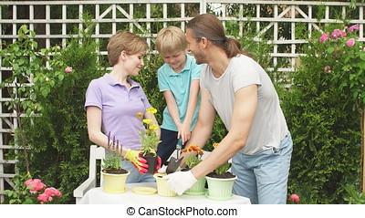 Boy kid helps parents planting flower in pot. Gardening, planting concept.