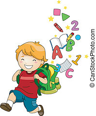 Boy Kid with a Backpack of ABC's and 123's - Illustration of...