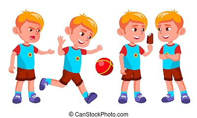 Boy Kindergarten Kid Poses Set Vector. Kiddy, Child Expression. Junior. For Postcard, Cover, Placard Design. Isolated Cartoon Illustration