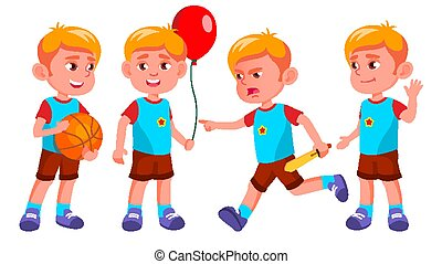 Boy Kindergarten Kid Poses Set Vector. Little Children. Happiness Enjoyment. For Web, Brochure, Poster Design. Isolated Cartoon Illustration