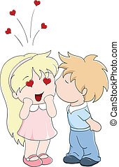 Boy kisses the girl on cheek. Vector illustration in manga...
