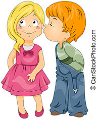 Boy Kissing Girl - Illustration of a Boy Kissing a Girl on...