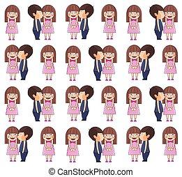 Boy kissing girl. Valentine vector pattern.