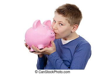boy kissing pink piggybank