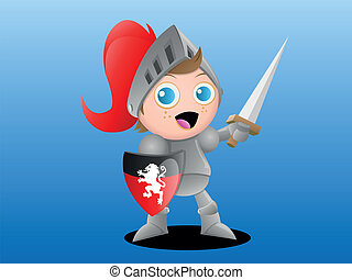 Boy Knight - Vector Illustration of a young boy knight