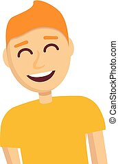 Boy laugh icon, cartoon style