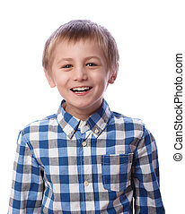 Boy laughs on a white background