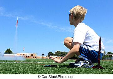 Boy Launches Rocket