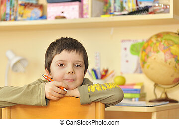 boy learning at home