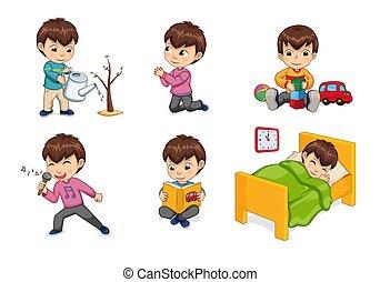 Boy Lifestyle and Leisure Set Vector Illustration