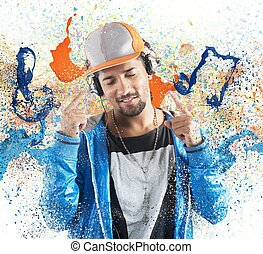 Boy listening hiphop music - Boy listening and dancing to...