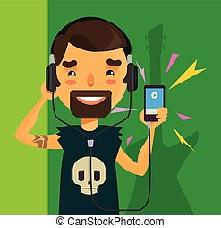 Boy listening to music. Vector flat cartoon illustration