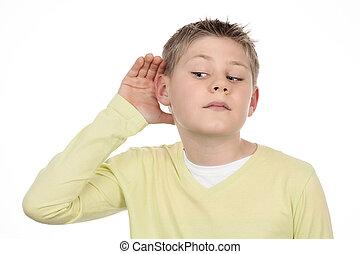 boy listens