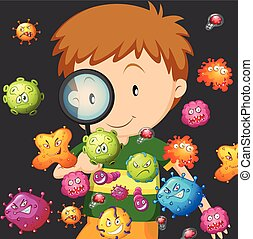Boy looking at bacteria through magnifying glass ...
