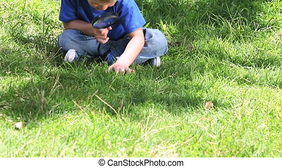 Boy looking at grass with a magnify