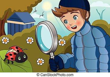Boy Looking at Ladybug - A vector illustration of cute boy...