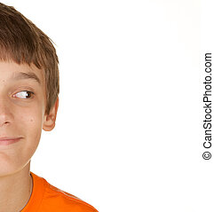 boy looking at white copyspace