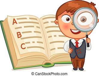 Boy looking through - Schoolboy is looking for words in the...