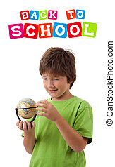 Boy looking with back to school theme isolated on white