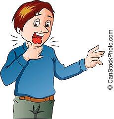 Boy Lost His Voice, vector illustration