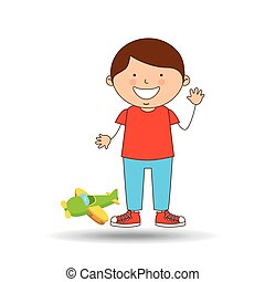 boy lovely smiling green plane graphic