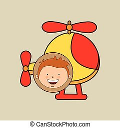 boy lovely smiling helicopter graphic