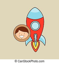 boy lovely smiling rocket graphic