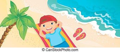 Boy Lying On The Beach