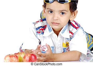 boy lying over white background