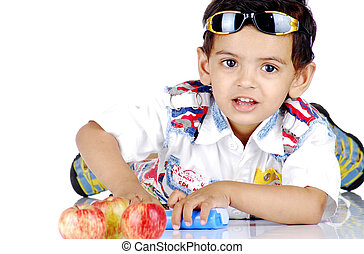 boy lying over white background