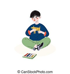 Boy Making Figures from Plasticine, Hobby, Education, Creative Child Development Vector Illustration