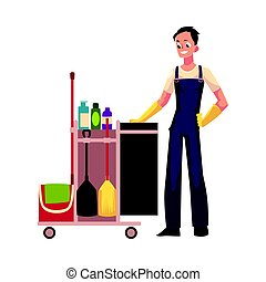 Boy, man, cleaner in overalls with cleaning trolley, vector illustration