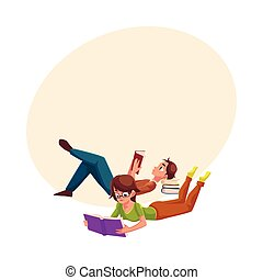 Boy, man reading book, woman in glasses reading book while lying on her stomach