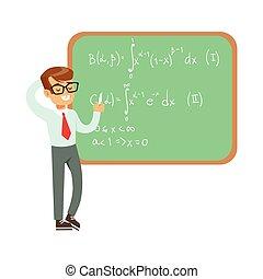 Boy Mathematician Writing Formulas On Blackboard, Kid Doing...