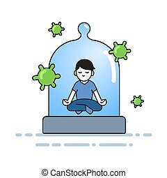 Boy meditating under the glass dome with viruses flying around. Coronavirus prevention, stay indoors, world quarantine concept. Flat vector illustration, isolated.