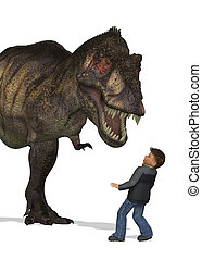 Boy Meets Dinosaur - A boy is awestruck by the sight of a...