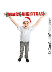 Boy Merry Christmas sign