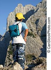 Boy mountaineer - Boy gazing at the Wilder Kaiser mountains ...