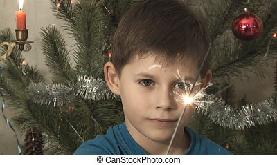 boy near a Christmas tree make a wi