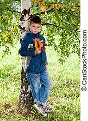 Boy near a tree in the park