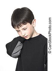 boy neck pain over white