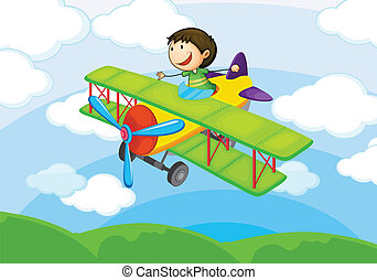 boy on a air craft - illustration of a boy on a aircraft in...