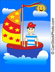 Boy on a ship - boy children ship boat ocean